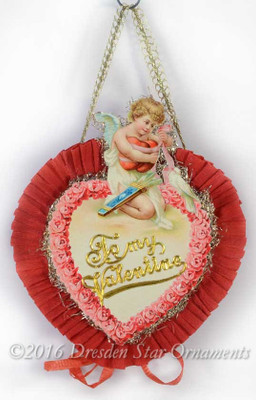Reserved for Cynthia – Two-Sided Valentine Candy Container with Cupid Holding Hearts