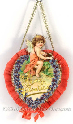 Reserved for Cynthia – Two-Sided Valentine Candy Container with Cupid Holding Letter