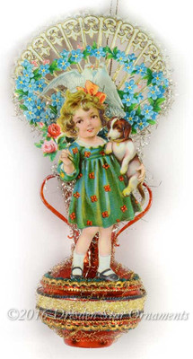 Reserved for Diana – Adorable Girl with Puppy and Die-cut Valentine on Red Glass Vase