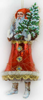 Victorian Santa Holding Tree with Red Glass Bell Body
