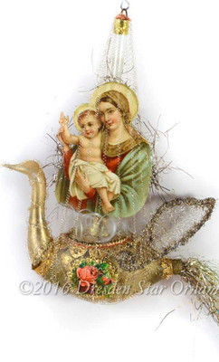 Mary and Baby Jesus Riding Rare Antique Victorian Glass Swan