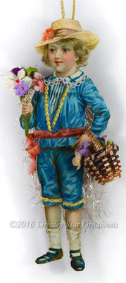 Adorable Victorian Boy in Blue with Spring Bouquet