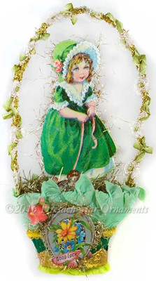 Reserved for Brenda – Girl with Puppy in St. Patrick's Day Nut-Cup with Green Ribbon Handle