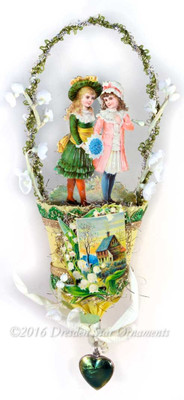 Girls in Irish-Inspired Yellow Tulip-shaped Nut-Cup with Lily-of-the-Valley Flowers