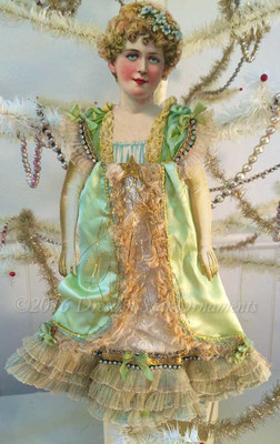 Reserved for Susan – Large Victorian Lady In Soft Green Dress with Ruffled Skirt