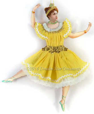 Reserved for Melissa - Exquisite Yellow Jointed Ballerina with Jeweled Tiara and Necklace
