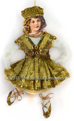 Reserved for Grace – Dainty Cotton Dancer in Gold Ribbon Dress