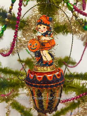 Reserved for Melissa – Girl with Pumpkin on Glass Halloween Spindle Ornament with Delicate Handle