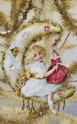 Reserved for Diana – Girl with Doll on Cotton Batting Moon
