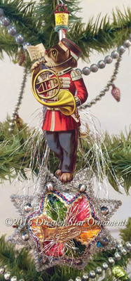 Reserved for Melissa – Marching Band Cat playing French Horn on Fantasy Star Ornament