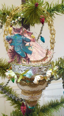 Reserved for Melissa – Dancing Tabby Cats on 3-Tiered Glass Ornament
