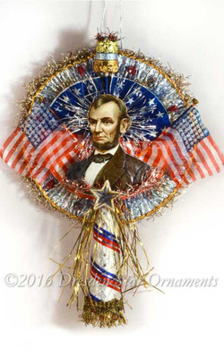 Deluxe Cigar Flag Patriotic Topper with Lincoln and Silk Flags