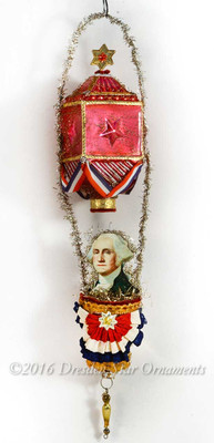 President Washington Riding Deluxe Embossed Glass Patriotic Hot Air Balloon