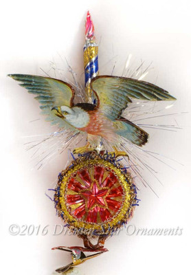 Gorgeous Patriotic Clip-On Ornament with Glass Candle and Eagle