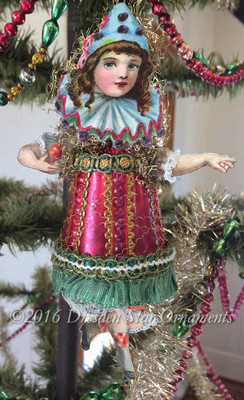 Reserved for Alicia - Adorable Victorian Girl Clown with Red Glass Body
