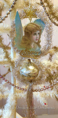 Shimmering Tinsel Ornament with Elegant Angel and Large Antique Glass Bead