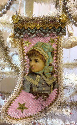 Antique Pink Stocking Candy Container with Victorian Girl in Blue Bonnet