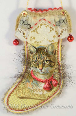 Antique Yellow Stocking Candy Container with Life-like Tabby Cat