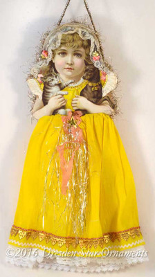Adorable Girl in Yellow Paper Dress & Lace Bonnet Holding Dog and Cat