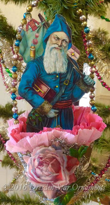 Blue German Father Christmas in Large Antique Paper Basket with Pink Rose