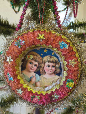Little Girls Anticipating Christmas in Red Chip-Tinsel Wreath