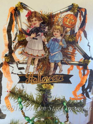Reserved for Brenda – Halloween Star Tree Topper with Children, Jack-o-Lantern, and Black Cat