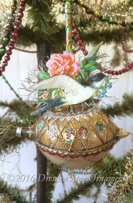 Swallow on Golden Mid-Century Ornament Detailed with Flowers and Latticework