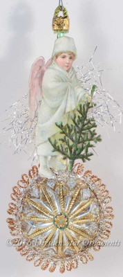 Beautifully Rendered 1880s Snow Angel Boy on Antique Starburst Ornament