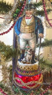 """""""Dickens"""" Gentleman with Dog on Elaborate Spindle Ornament with Christmas Garland"""