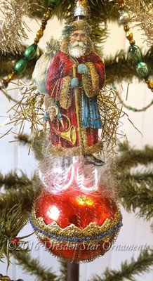 Victorian Father Christmas on Red Single Balloon with Blue Beadwork