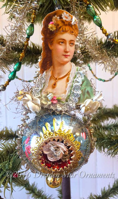 Beautiful Victorian Lady Accented with Flowers on Blue Hand-Painted Ornament.