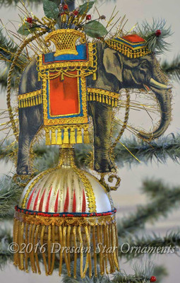 "Spectacular 7"" Elephant on Beaded Glass Sphere Ornament with Gold Bullion Fringe"