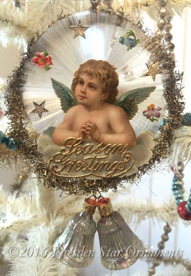 Reserved for JC – Angel on Spun-Glass Disk with Silver Bells