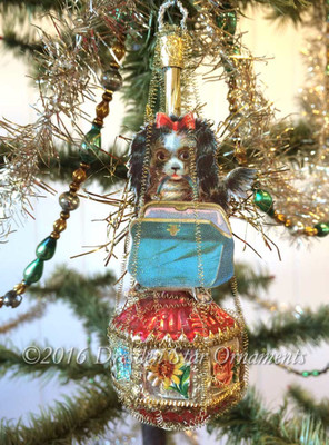 Dog With Purse on Gorgeous Antique 6-Sided Ornament with Flowers
