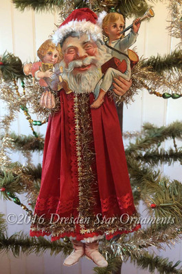 Reserved for Dennis - Joyful Santa Holding Children with Red Crepe-Paper Skirt