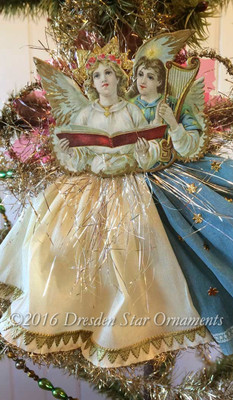 Reserved for Dennis - Blue and White Angels on Tinsel Ornament with Flouncing Crepe Paper Skirts