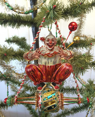 Reserved for Dennis – Acrobatic Clown on Fanciful Glass Spindle Ornament