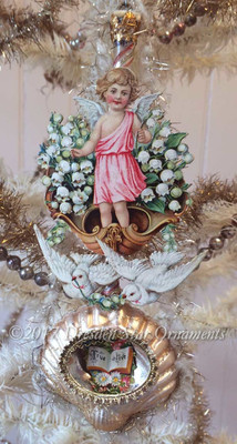 Angel Riding Dove-Drawn Shell Chariot on Pearlized Glass Seashell Ornament