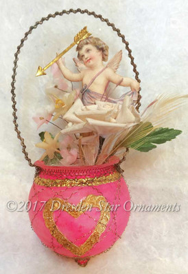Reserved for Yuliya – Dainty Angel with Golden Arrow in Rare Antique Unsilvered Pink Bowl Ornament