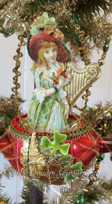 Irish Lass with Golden Harp in Matching Glass Boat with Shamrocks
