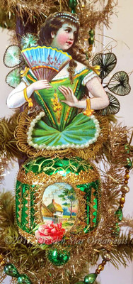 Girl in Green Holding Fan on Green Spindle Ornament with Wired Shamrocks
