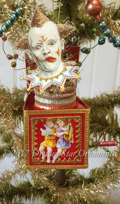 Reserved for Dennis – Victorian Clown Jack-in-the-Box ornament