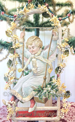 Reserved for Susan - Large Snow Angel on Swing with Frosty Flowers