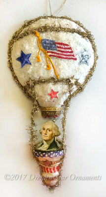Reserved for Stacy – George Washington riding Patriotic Cotton Batting Balloon with Antique spun-cotton Bell