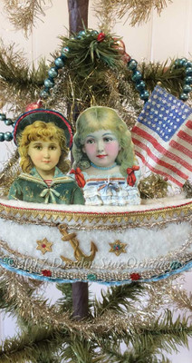 Reserved for Dennis – Patriotic Boy and Girl in Cotton Batting Boat Ornament with Rare Linen Flag