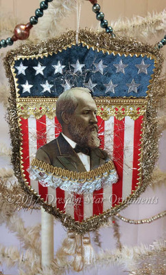 Reserved for Dennis – President Garfield on Stunning Two-Sided American Shield Ornament