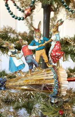 Reserved for Brenda – Bunny Family Dancing on Cheery Parasol Clip On Ornament