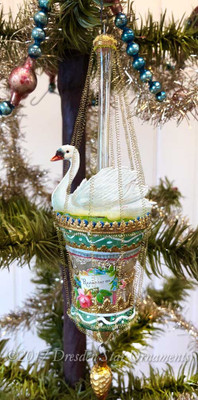 Reserved for Jennifer – Graceful Swan on Green and Silver Bell Ornament