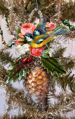 Reserved for Jennifer – Songbird on Glass Pinecone Ornament with Holly