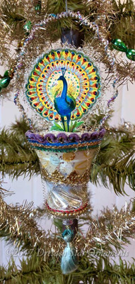 Reserved for Jennifer – Exotic Peacock in Antique Glass Bell Ornament